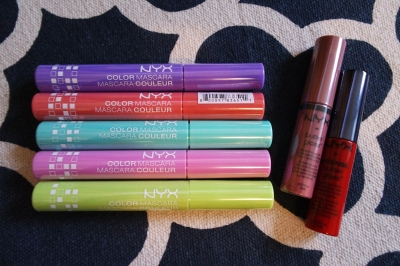 NYX Australia- Coloured Mascaras, Butter Gloss (Tiramisu) and Intense Butter Gloss (Apple Crisp)