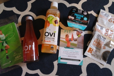 Waxaway sample, Sofi, Ovi Hydration, KFit (1 month free trial), Slim Secrets Protein Pudding and Jed's Bean Bags.